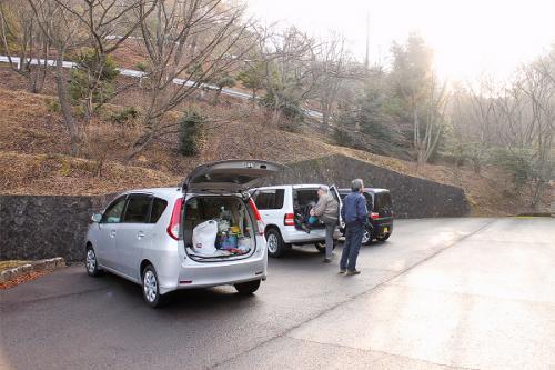 大洞光輪公園の駐車場です。<br />山に登る仕度をして出かけます。
