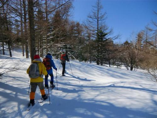 少しの休憩の後、下山となる。真っ白い滑らかな雪面(写真)を選んで自由に歩く。<br />