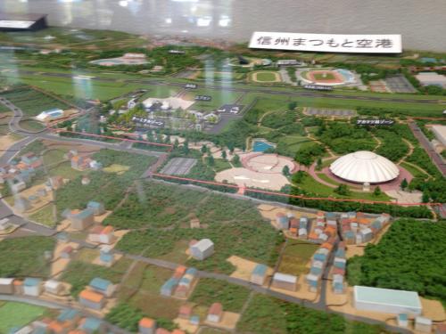 上記の城の絵横にありました。空港周辺模型。まずはターミナルがあるエリア。