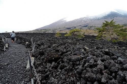 岩手山の焼走り熔岩流(やけはしり・ようがんりゅう)は、1732年(享保17年)の噴火の際、北東の山腹(標高1200m)から山麓(標高550m)にかけて流れ出た溶岩の流れの跡。<br />その延長は4km、幅は1.5km、溶岩堆積層の厚さは10mあって、一部は天然記念物にも指定されているんだそう。<br />●注: 天然記念物としての名称は、≪焼走り熔岩流≫で、溶岩の≪溶≫の字が≪熔≫になるそうです。<br /><br />今では、この画像のように、一面黒いゴツゴツした岩で覆われていて、自然観察路がその合間に出来ています。<br />吹きさらしの足元の悪い道なので、1kmほどあるという全行程を歩いてみたい方は、服装や靴にはご配慮を。