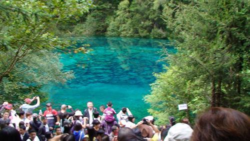 【五彩池】ごさいち(則査窪溝)<br />標高2995m、長さ100.8m、平均幅56m、平均深さ6.6m。<br />カルシウムとマグネシウムイオンが長海より豊富。<br />九寨溝で唯一「池」の名が付いている。<br />他は「海」がついているが、辺りに住んでいたチベット族が海を見たことがなくこれらの湖水こそが海だと思って名づけたそう。<br />