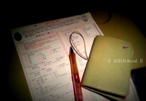 スイーツで癒された後は、<br />入国の準備。<br /><br />実はこの書類、<br />裏面はアンケートなので、記入しなくれもいいのですが・・・。<br /><br />韓国語verだったこともあり、<br />チャレンジすることに。<br />90%理解できたのですが、<br />2か所のみ理解不明なところが。<br /><br />あとで、ガイドブックで答え合わせすると、<br />堂々と『会社役員』に印をしていたことが判明。(笑)<br /><br />すみません、ペーペーの分際で(>_<)<br /><br /><br />