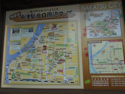 中津駅北口周辺の地図が掲げてあります。