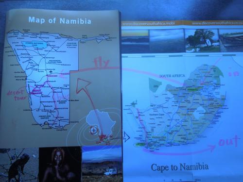 10月17日(木)〜19日(土) 4、5、6日目<br /><br />今回の旅のルート。<br /><br />ナミビアの首都ウィントフックから南下し、ロホボースから西へ。<br />