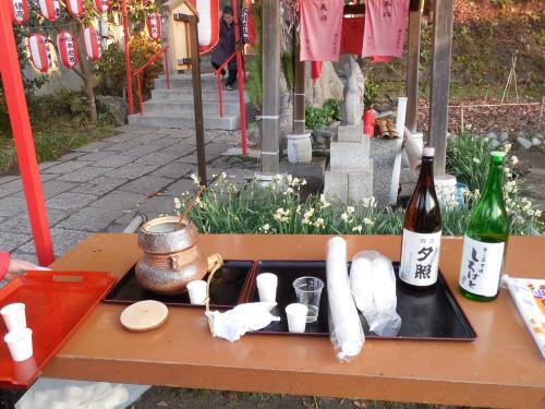 お神酒を頂きます。<br /><br />冷えた体が温まりました。<br />野島の名酒 のどごしがよく美味しいお酒でした。