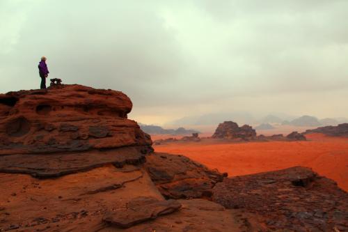ワディ・ラム自然保護区での朝。<br />朝5:00に目覚める。まだ、外は暗く、人の動く気配は無い。<br />砂漠でのテントの一夜。もっと寒くて、朝起きたらテントの中が結露しているかと思っていたのだが、思いの外、温かくて驚く。<br />静かに身支度を整え、外へ出る。<br /><br />6:00 外は曇り空だが、雲の厚さはそれほどなく、雨雲の様に黒色では無い。<br />これならば、雲の隙間から朝日が見えるかもと、キャンプ地裏の岩山へと登る。<br />昨晩よりは遠くが見えるようだけれど、クリアではない空。<br />雨が多いと云われる12月だから、朝から雨や雪でなかった事を感謝すべきなのかもしれないが…。