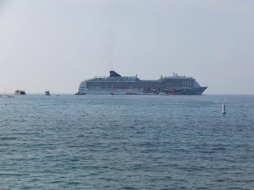 沖に大きい船が停泊してます。夏場はアラスカに行って、冬場はハワイに来るそう。アメリカ本土からの観光客が乗ってきてるそうです。