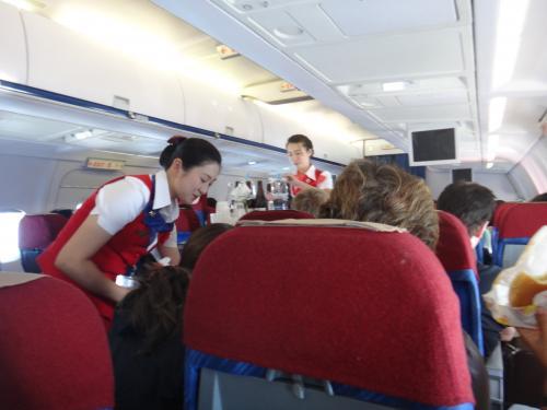 水平飛行に移ると飲み物と軽食のサービス。朝のフライトだったので、フル機内食が楽しめなかったのは残念。