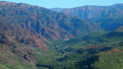 ワイメア渓谷展望台の手前のポイントからの展望。