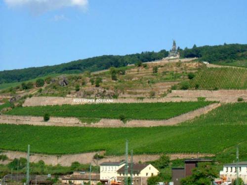 """;5.16. ニーダーヴァルトNiederwald<br /><br />≪ゲルマニアの女神:Niederwalddenkmalニーダーヴァルト記念碑≫<br /><br />Niederwaldニーダーヴァルトの展望台へ、初めて登り、ラインの眺望を楽しんだ。<br /><br />ここには1871年のドイツ統一・・・普仏戦争の末期、パリ攻略中にベルサイユ宮殿にて、皇帝ヴィルヘルム一世がドイツの統一とドイツ帝国の成立を宣言する。帝国初代宰相はビスマルク・・・を記念して、1883年に建てられた38mもの大きな""""ゲルマニアの女神の像""""が立っている。<br />"""