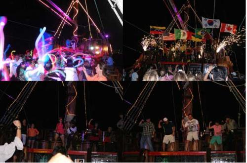 乗船した後は、イベントがとりかく盛りだくさん!! 大人も子供も、おじいちゃんもおばあちゃんも、、、もう世代を超えて楽しめます。<br /><br />参加型のイベントで大いに盛り上がって、その後の本格的な海賊ショーを楽しみ、最後は全員で踊りながら帰港します。<br /><br />あっという間の3時間です。<br /><br />
