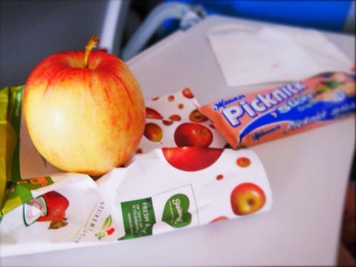 オーストリア航空初めて乗りました。<br /><br />シックな空港に似合わない全身真っ赤っかな制服に開口 笑<br /><br />楽しみにしてた機内食だけど、これまたビックリのリンゴ丸ごと1個!<br />いやー面白いわー!笑