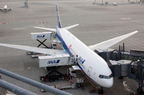 出発の2時間前に到着したので、まだ時間があるので展望デッキに言って今日の機材を確認します。<br /><br />110スポットにB777-200ER(JA715A)がいました。今日はこいつで香港まで飛びます。<br /><br />それにしても羽田の国際線も増えました。今月末には新しい搭乗ゲートの供用も始まり、国際線の発着が増えます。