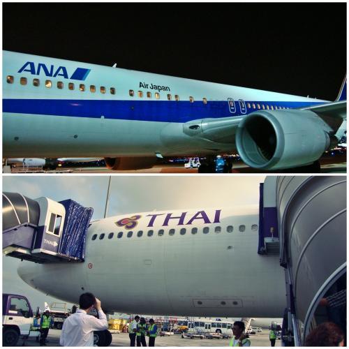 ANA搭乗はボーディングブリッジはなく、バスで飛行機まで。LCCみたいにタラップで搭乗でした。<br />航空券は2か月前に予約したので、当然ながらシンガポール航空の特典は空いてませんでした。<br /><br />ANAとタイ航空はスターアライアンスなので、荷物はバリで受け取りです。<br />バンコクのスワンナプーム空港は寒いので上着用意。