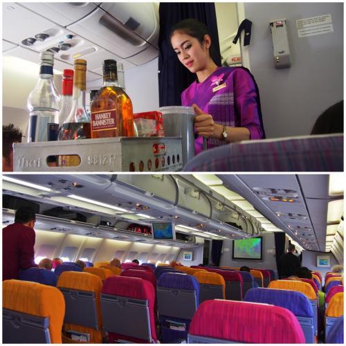 TG431便 バンコク→デンパサール(バリ)まで約4時間半。意外と遠い。<br /><br />今年の2月から、タイ航空機内でネットがつながるようになりました!<br />(AIRBUS 330) <br />でも、相変わらず、パーソナルモニターがついてない....<br /><br />タイ航空のCAの制服はタイシルクで素敵!<br />機内食サービスが終了すると、紫のスーツに着替えます。<br /><br />