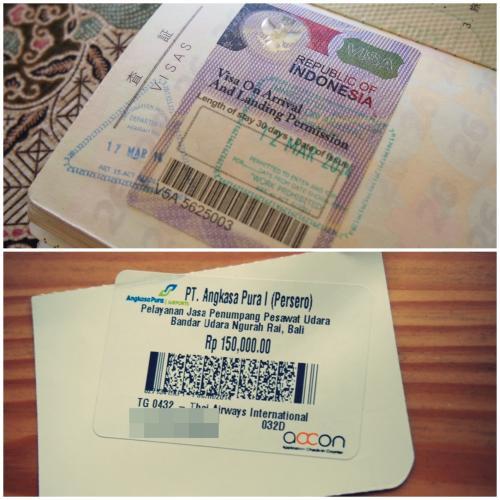 上がVISA(シール)<br />ここに入国スタンプが押されます。<br /><br />下はバリから帰国時インドネシアから出国する際、出国審査前に払う、国際線空港使用税(出国税)150,000ルピアの領収シール。航空券の裏に張られます。<br /><br />2014年4月1日から200,000ルピアに値上がりしたので注意!(クチコミ参照)<br />空港使用税はルピアで支払なので、帰国時に200,000ルピアを残しておくように。<br /><br />VISA代もいつ値上げするか分からないので、出発前にインドネシア政府観光局のサイトで確認した方が良いです。