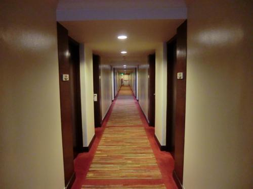 ホテル最上階にエグゼクティブ・ラウンジがあり追加代金を払えばラウンジアクセスが可能になる。値段は1泊1部屋(2名)あたり1500ペソ(3450円)と安いので2日間とも利用する。<br />写真:6階の廊下