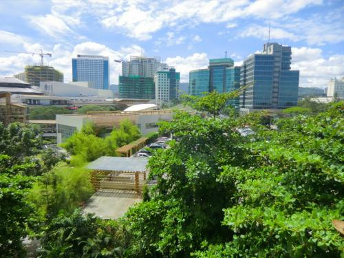 6階の我々の部屋からの眺め(写真)。緑に囲まれた巨大ショッピングモールである「アラヤ・センター」と建築中の高層ビル群が見える。