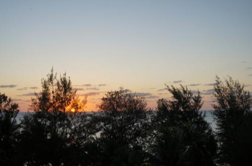 夕日です。部屋から撮りました。<br />毎日いい天気だったのに、きれいな夕日を撮る事を忘れていました。<br /><br />今夜はガラパンのナイトマーケットに出かけます。<br /><br />ビッグボーイズのおっちゃんが教えてくれました。<br /><br />「ママね、今夜木曜日ねガラパンでナイトマーケトやるね。5$でお腹一杯ね。おいしいね。5$でお腹一杯ね。」(えー、ホンマかいな。でも旅行記で見た事ある、あれの事かな)<br /><br />「ホテルからDFS行きの無料のタクシーが出ているからそれで行けばいいね。」(ほー。)<br /><br />家族で相談です。<br />「あのおっちゃんジャングルツアーの件もあるしね、大丈夫かぁ?」<br />「でもサイパンに来たんだから、サイパンらしさを味わいたいよね。」<br />という訳でナイトマーケットに決定です。