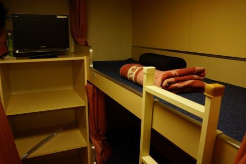 奮発したけど・・設備はおが丸よりは少し劣るなぁ。<br />敷布団がないぞ?<br />2等和室と同じような硬い床にじかに寝る感じです。<br />まぁこれでも大丈夫そうだったけど・・またしても奮発して100円の貸毛布を借り、<br />下に敷いて寝ました。<br />(でも結局、船内が暑くて掛け毛布は使わなかったので借りなくてもよかったという・・)<br /><br />各スペースに1つコンセントもあり、やはり特2は快適です。<br /><br />レストランにも行こうと思いつつ・・気が付いたら爆睡しておりました。