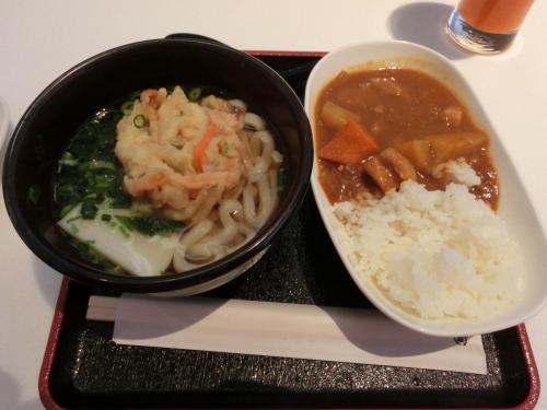 ラウンジで天ぷらうどん、カレーライスを食べ登場口へ。
