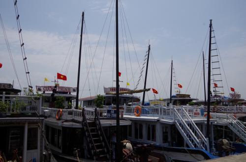ハロンワンツアーの港に到着。<br />ものすごいたくさんの船が並んでいました。
