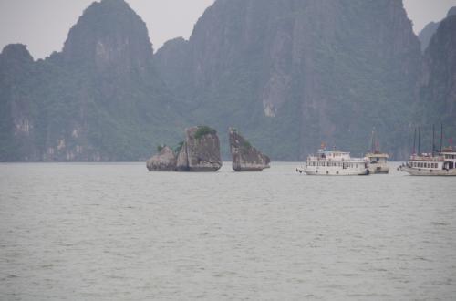 再び船に乗ります。<br /><br />次は、闘鶏岩。<br />たくさんの船が集中していて、自分たちの船は目の前で見ることができませんでした。一番のみどころらしく、残念です。