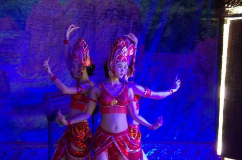 これは、ヒンズーのアプサラの踊り<br />アプサラというのは、ヒンズーの水の精で、神々を踊りでもてなす天女のような存在ですね。<br /><br />カンボジアで見たアプサラダンスとは違い、赤いユニフォームでしたが、踊りはきれいでした。