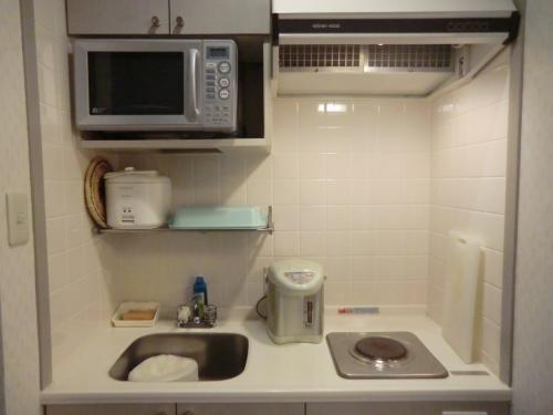 この部屋には「ミニ・キッチン」(写真)がありロングステイも可能である。今回は3泊中2泊は食事付きにしたが、私は食材をいっぱい買い込んでここで調理をして何日も滞在することがある。<br /><br />