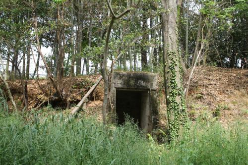 先程の道を登りきった所にあるコンクリート製の防空壕(3)、ここにはかって衛所が有り、姫路海軍航空隊の正門にあたる場所だったそうです。