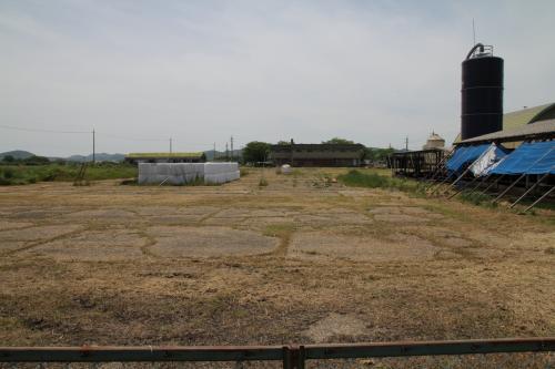 防空指揮所の前には旧エプロン跡(17)があります。現在は牧場の一部となっていますが、ここにはとても広いコンクリートのエプロン跡が残っていました。現在の牛舎がある辺りに3棟の大きな航空機の格納庫が列んでいたそうです。