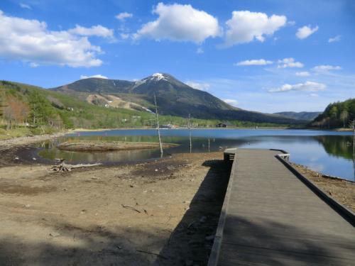 水位が下がり、無残にも湖底をさらけ出した女神湖(写真)。湖畔の散歩中、泥の匂いがして興ざめだ。