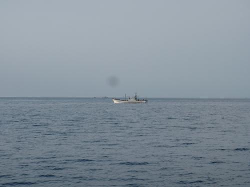 一路丹後半島沿いの久美浜沖のグリを目指していきます。<br />このグリにタイが産卵にくるので、遊漁船が集まってきます。<br />ただ瀬戸内海の遊漁船よりはるかに数は少ないのでゆっくり魚釣りができます。<br />今回も流し釣りとかかり釣りを実施しました。 <br />まずは流し釣り。<br />浅場でやりましたが、あたりがないので深場に移動。<br />そこでやっと大きなガシラ(カサゴ)とソイを釣ることができました。どちらも30センチ超えのいいサイズでした。