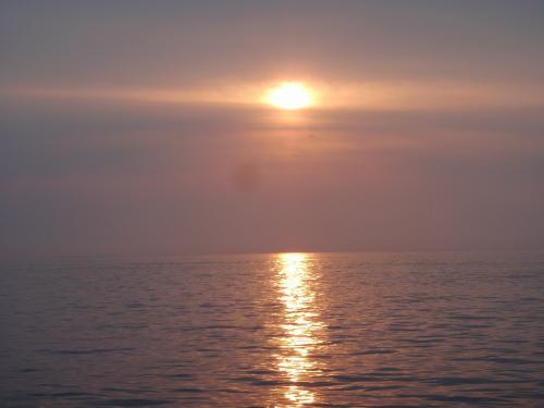 その後、かかり釣りをしましたが、あたりがないのにエサばかり取られ、釣果が伸びずそのまま納竿となりました。<br />ただ同船したベテランの人はクーラー一杯釣っていたので、結局は腕の差が出たのだと思います。<br />この写真は日本海に沈む夕陽です。<br />水平線に雲が出ていたのでダルマにはなりませんでしたが夕焼けがきれいでした。<br />