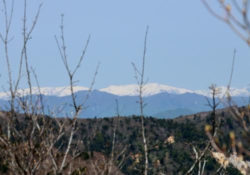 稜線に出ると、北の方角に雪山が見えてきた。会津駒ケ岳であろう。