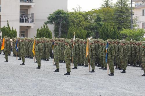 整列するこの駐屯地、各中隊の隊員