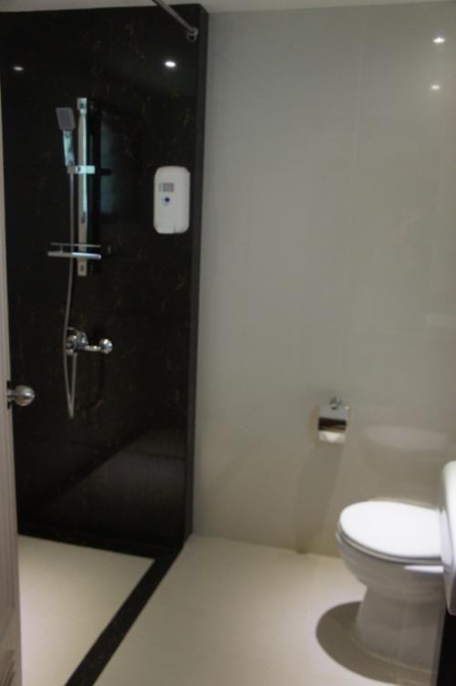洗面所はシャワーのみ。<br />お湯のではいいです。<br /><br />まぁ、自然の中にあるシャレーなんで、たまにアリさんが洗面所に出没します。