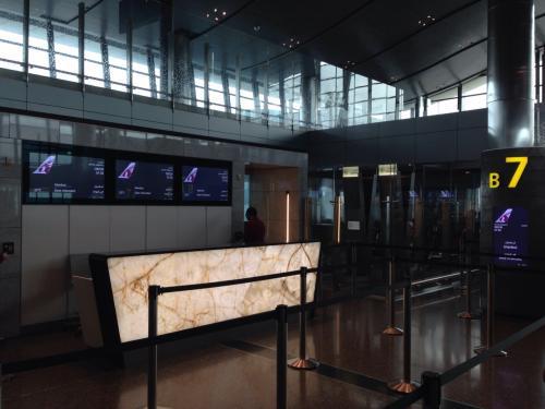 ドーハからイスタンブールへの飛行機(QR239便)のボーディングタイムが近づき、ここ「B7」ゲートから機内へ搭乗します。