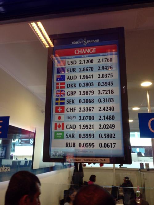 入国後、到着ロビーの両替所で円→トルコリラに両替しました。