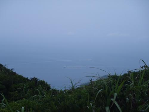 拡大するとこんな感じ。<br />山登り中に海の景色が眺められるって島の山旅の特権だね♪