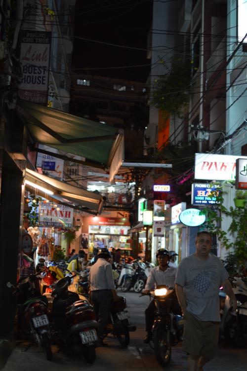 貧乏旅行者にとって、ブイビエン通り、デタム通り、ファングーラオ通り周辺は、最高の立地である。<br /><br />よく、初めてベトナムに行く人が、ホテル予約サイトで申し込むと、ドンコイ通り周辺のホテルになることが多い。<br /><br />高級レストランで食事をして、エステやスパ、ショッピングが目的の旅行なら、ドンコイ通りは非常に便利だ。<br /><br />だが、この辺には、安い食堂や屋台が非常に少ない。<br />また、夜も早く閉まってしまい、8時を過ぎると暗がりが多く、バイクを使ったひったりやスリも多く、一人歩きは大変危険である。<br /><br />また、もう少しコストパフォーマンスを重視すると、ベンタイン市場周辺のホテルになることも多い。<br />この辺は地元民向けの店も多いのだが、夜、店が閉まるのも早く寂しくなる。<br /><br />節約旅行を望むベトナムが初めての人は、予約サイトの値段や口コミに惑わされずに、まずはブイビエン?デタム通りに行くのが良いと思う。<br /><br />特に泊まりたいホテルのある人は、地球の歩き方を見て事前にメールで予約すれば良いが、たいていのホテルは空いているので、予約しなくても大丈夫だ。<br /><br />もし一軒目が満室でも、その前後左右には同じようなホテルが林立しているので、順番に当たって行けばすぐに見つかる(クリスマスシーズンは多少苦労する)。<br /><br />道路を歩けばホテルの従業員が客引きをしているので、宿を探して歩き回るなんてことは、この町では皆無である。<br /><br />深夜の到着でも、呼び鈴を押せば玄関のソファーで寝ている守衛がすぐに出てくるので心配ない。<br /><br />相場は、シャワー・トイレ・エアコン・窓・テレビ・冷蔵庫付きのシングルで、15ドル前後。<br />ツインの広い部屋(スイートとうたっている)で20-30ドル。<br />ただしエレベーターはない(エレベーター付きだとプラス10-20ドル)。<br /><br /><br />さて、この写真(↑)は、ブイビエン通り97番地あたりとファングーラオ通りを結んでいる細り路地。<br />ブイビエン通りとファングーラオ通りの間には、民家の居間が手に取るように覗けるような細い路地が迷路のように入り組んでいて、安い食堂も点在している。<br />散歩するだけでも面白い。