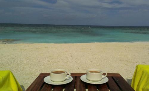 我が家前のビーチでもインスタント珈琲タイム。<br />海の透明度が回復するまでのんびりと待ちます。<br />