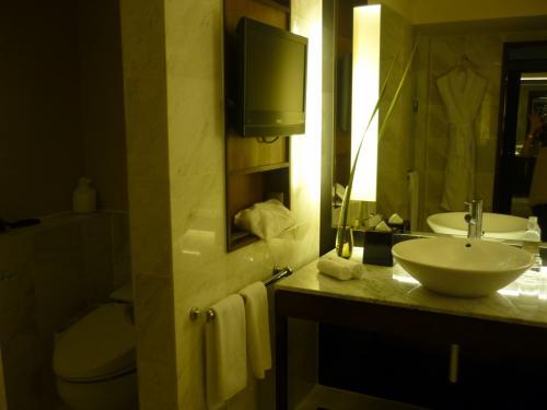 暗いですが、トイレ(ウォシュレット付き)とシングルの洗面台です。<br />トレイを仕切るドアはありません。<br />壁掛けTVはお風呂に浸かりながら観る用ですが、配置上首を横に向けないと観られません。