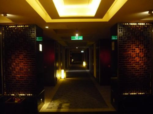 タイパンフロアの廊下です。一般客室フロアよりも暗くムーディーになっています。そしてアロマのいい香り。<br /><br />ちなみに、エレベーターは全部で6機あるのですが、稼動しているのは2〜3機だけだったので、毎回結構待ち時間がありました。時期の問題?