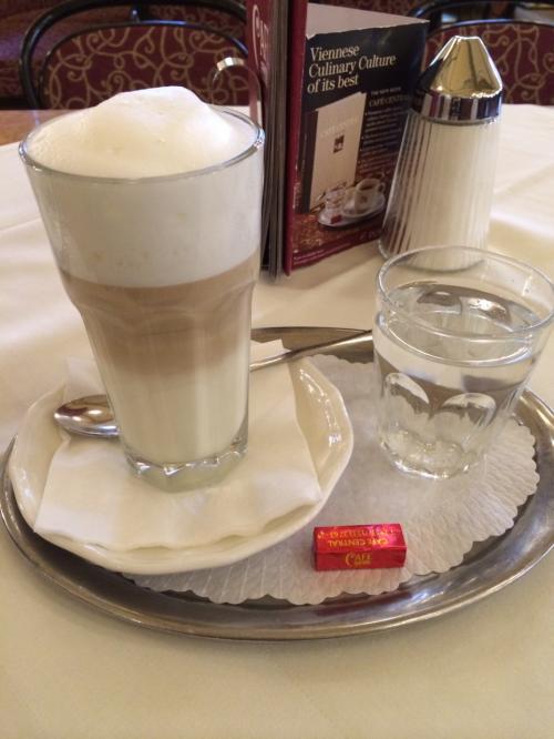 ウェイターさんも、にこやかでキビキビしてて、<br />さすがプロって感じの好青年。<br /><br /><br />ウィーンはコーヒーが色々あって、<br />よくわからないので、とりあえずカフェオレ。<br />(結局毎回、カフェオレ飲んでました…めんどくさがり…)<br /><br />ウィーンのカフェオレは、<br />ホットなのに、<br />グラスになみなみ注がれて、<br />ビール並みにあわあわで、やってきます。<br /><br />熱そうだし!持てないし!<br /><br />と思ったんですけど、大して熱くないし、<br />普通にグラス持てるっていうw<br />どうやら、冷たいミルクを注いでいるようです。<br />