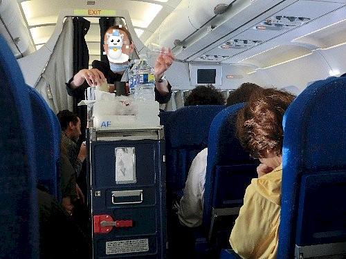 エールフランス機内<br /><br />席はバラバラ、後ろ姿は高校の同級生のMちゃん