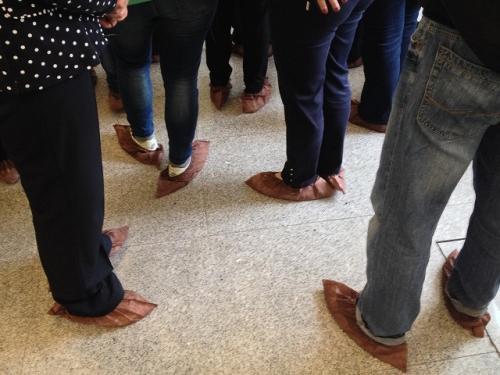 建物内はツアーの添乗員とは別に、エカテリーナ宮殿の職員らしきガイドが 我々集団を引き連れてガイドした(当然ロシア語なので我々には解説が さっぱりわからんが)。ツアー集団毎(ごと)、一定間隔で入場を規制する形式で入場し、 中は土足厳禁なので、靴の上からカバーを履いて入場する。 <br />