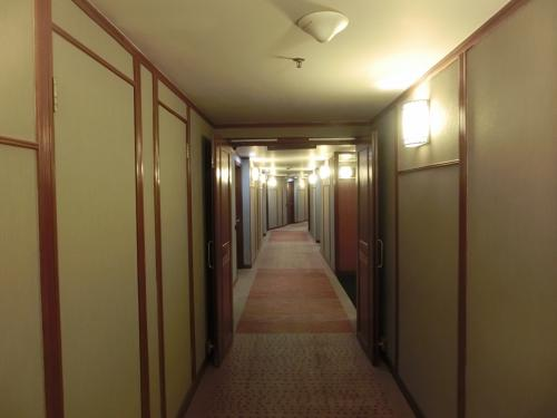 ホテル内のセキュリティがしっかりしていて、エレベーターに乗っても宿泊者のルームキーカードを差し込まないと自分の部屋の階に行けない。14階の廊下(写真)を歩いて部屋に急ぐ。