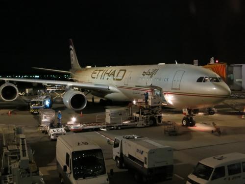 ツアー参加者は37名。けっこうな大所帯の様子。<br />みんなで集まって添乗員さんの話をきくのは<br />アブダビ空港到着後だったので、出発時点では同ツアーの皆さんの<br />お顔はイマイチわからず。<br /><br />初・エティハド航空!景気のいいサービスで話題の<br />中東系だけに、期待値が高まる。
