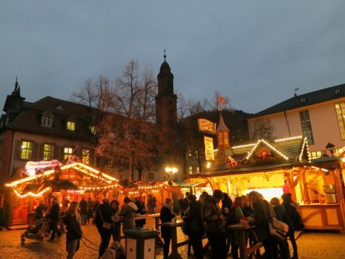 今回のツアーは観光2日目だけ食事がついているのですが、<br />基本、目的がクリスマスマーケットのため<br />昼食、夕食はマーケットなどで各自済ませることになっています。<br /><br />どこにしようか目移り…<br />マルクト広場から徒歩5分ほどの「大学広場」にも活気ある<br />クリスマスマーケットが出ておりましたので、<br />しばし練り歩く。